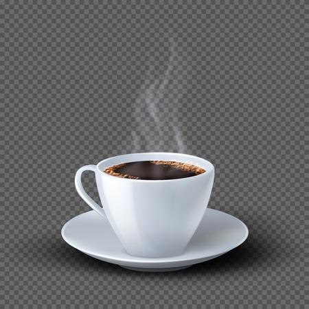 Tasse à café réaliste blanche avec de la fumée isolée sur fond transparent. Boisson de tasse de café, illustration de petit déjeuner de café Vecteurs