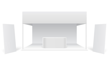 Event exhibition trade stand. White promotional advertising booth, standing blank display banners. Marketing stall 3d vector mockup. Illustration of exhibition display for presentation and trade