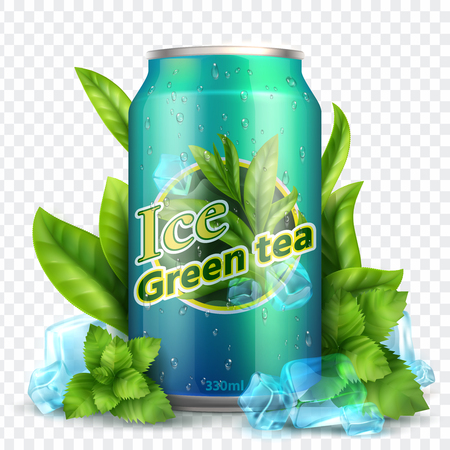 Ice tea background. Realistic can with tea leaves and ice. Product promotion vector mockup. Illustration of green tea drink freshness Illusztráció
