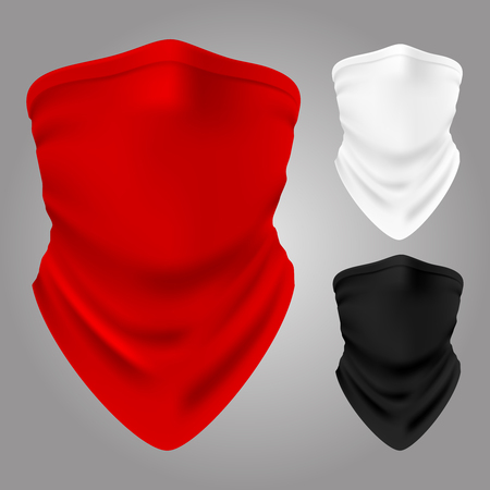 Vector realistic textile balaclavas collection isolated. Illustration of bandana for face, clothing scarf Vector Illustration