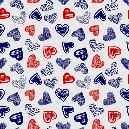 Doodle ballpoint pen drawing colored hearts seamless pattern vector illustration