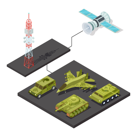 Modern remote control of military equipment with wi-fi isometric vector illustration