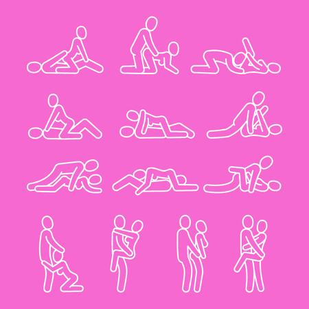 Símbolos de contorno de amor de vector. Iconos de línea de posición sexual aislados en la ilustración de fondo rosa Ilustración de vector