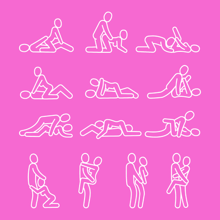 Vector love outline symbols. Sexual position line icons isolated on pink background illustration