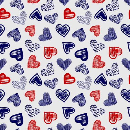 Doodle Kugelschreiber Zeichnung farbige Herzen nahtlose Muster Vector Illustration