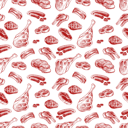 Hand drawn meat, steak, beef and pork, lamb grill meat and sausage seamless pattern. Vector illustration