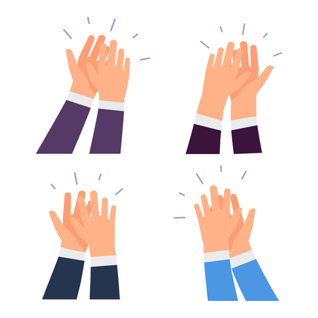 Flat vector clapping hands icons isolated on white background. Illustration of clap hands, business appreciation  イラスト・ベクター素材