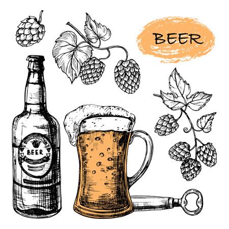 Sketched beer collection with glass, bottle and hop vector set. Illustration of alcohol bottle beer sketch