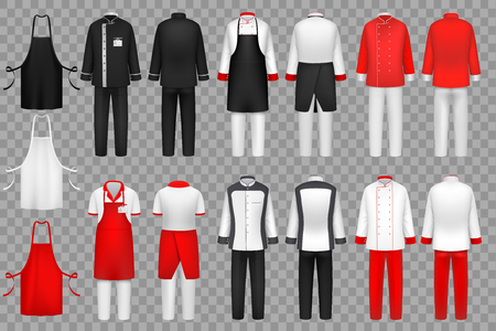 Culinary clothing. Chef uniform, kitchen textile clothes vector isolated set. Cloth for waiter apron clothing, fashion outfit uniform for kitchen illustration