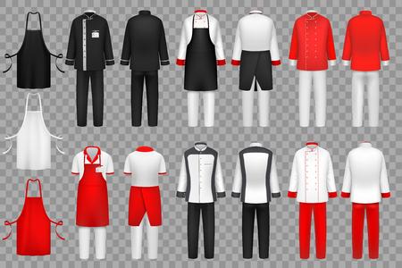 Vêtements culinaires. Uniforme de chef, vêtements de cuisine textile vecteur ensemble isolé. Tissu pour vêtements de tablier de serveur, uniforme de tenue de mode pour illustration de cuisine Vecteurs