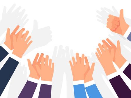 Ovaties, applaus en gefeliciteerd met succes vector sjabloon. Illustratie van menigte handen klappen, waardering gebaar appreciation