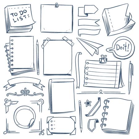 Skizzenelemente für das Bullet-Journal. Notizbuch, girly Tagebuch und Papierrahmen. Handgezeichnete Vintage-Etiketten und Banner. Vektor-Doodle-Set aus Schreibheft und Notizbuchpapierillustration Vektorgrafik