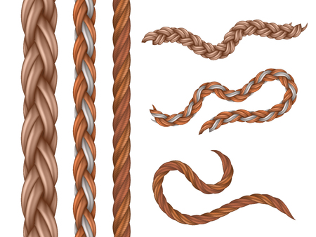 Realistic vector nautical cables, seamless ropes isolated on white background. Illustration of rope and cable, fiber cord, part of jute