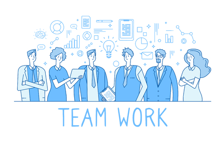 Teamwork line concept. Creative business team office workers, employees. Collaboration technology trendy flat outline vector background. Illustration of office employee, business team Çizim