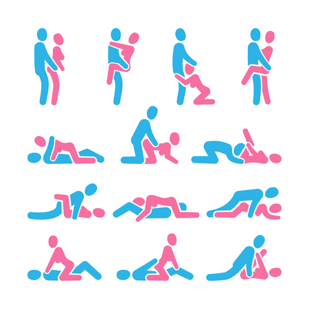 Sexual position vector icons. Sex positioning between man and woman couple pictograms, kamasutra vector set. Illustration of man and woman sex pose collection Banque d'images - 116380497