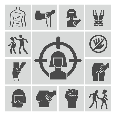 Stop violence, sexual abuse, harassment vector icons set. Violence and abuse, harassment and sexual victim illustration