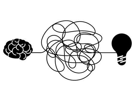 Confused process, chaos line symbol. Tangled scribble idea, insane brain vector concept. Illustration of chaos scribble doodle, tangle brainwork