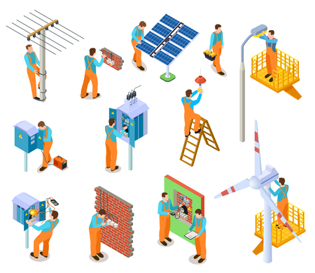Electrician isometric set. Workers doing safety electric works. Electrical maintenance man repairing power lines vector 3d characters. Illustration of electrician worker man, professional work service Illustration