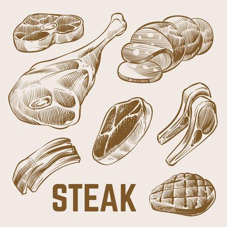 Schizzo di carne, set di vettore di bistecca disegnato a mano. Bistecca di carne, illustrazione di maiale di manzo di schizzo