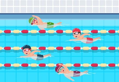 Los niños nadan. Competición de natación infantil en piscina. Ilustración de vector de niños de atletismo de deportes. Actividad deportiva para niños en piscina Ilustración de vector