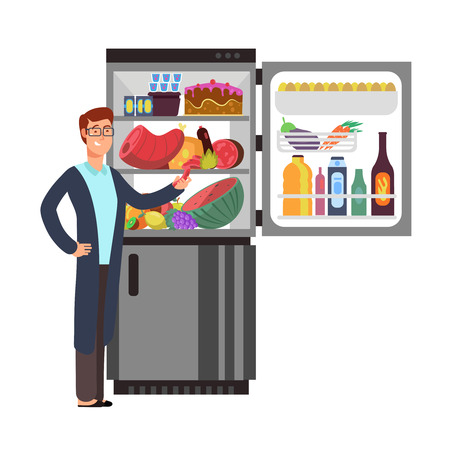 Man thinking snacking sausage at fridge with unhealthy food. People eating at night vector concept. Illustration of male hungry and refrigerator with food and drink