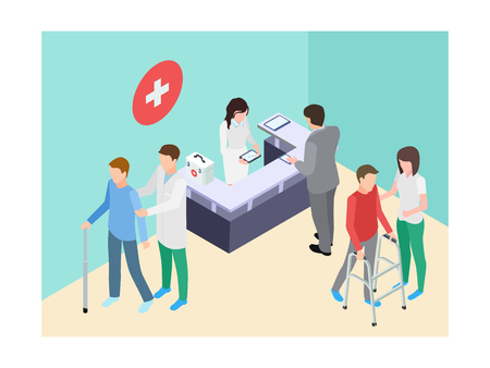 Isometric hospital registry, doctors, staff and patients vector illustration. Medical doctor and reception assistance