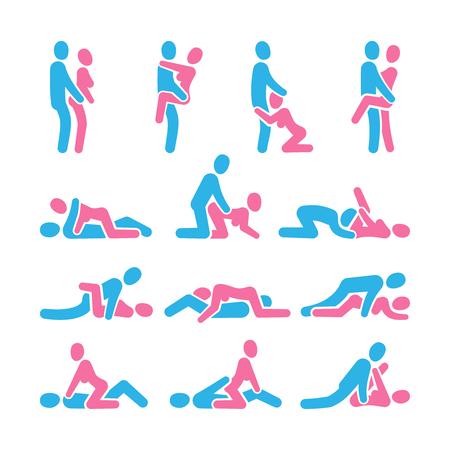 Iconos vectoriales de posición sexual. Posicionamiento sexual entre pictogramas de pareja de hombre y mujer, conjunto de vectores kamasutra. Ilustración de colección de pose de hombre y mujer