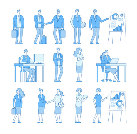 Business line people characters. Business man woman in corporate office, professional people vector set. Illustration of professional corporate office 向量圖像