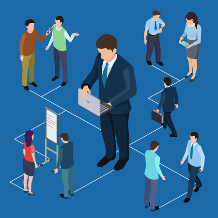 Remote management of business and people isometric vector concept. Illustration of remote management business female and male