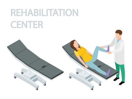 Physiotherapist and rehabilitation patient. Empty couch and couch with a patient isometric vector. Physiotherapist rehabilitation, patient physiotherapy illustration