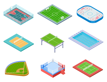 Sport fields isometric. Sports playgrounds handball soccer water area baseball volleyball tennis hockey 3d vector set isolated. Illustration of hockey and soccer, tennis and basketball field Standard-Bild - 125581390