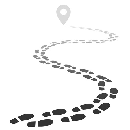 Footprint trail. Footstep walking snow trace. Footpath road away in perspective isolated vector illustration. Trail trace to point, track human foots Stock Illustratie