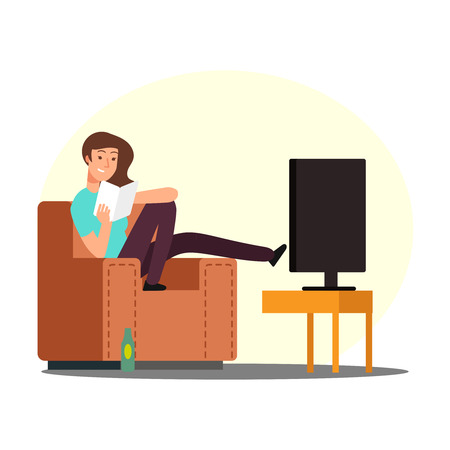 Cartoon woman rest on chair with book, tv and beer bottle vector illustration. Woman rest with book, girl character on sofa Vecteurs