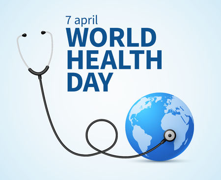 Health day. Wellness, health protection and global medicine healthcare vector poster. Illustration of world health day, international event