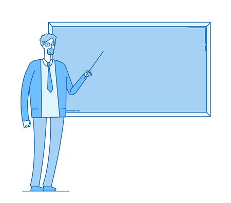 Teacher at blackboard. Young man professor teaching in college university class vector school education line flat concept. Illustration of teacher school at blackboard, university lesson