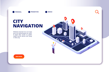 Gps isometric concept. Navigation city 3d map mobile phone, phone tracker with global positioning app. Landing vector page. Illustration of smartphone gadget navigator 3d