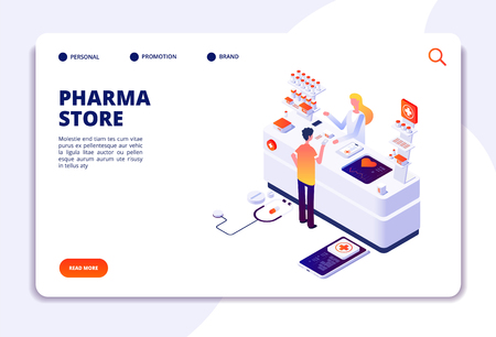 Pharmacy isometric concept. Doctor pharmacist and patient in drugstore. Medication and healthcare vector landing page. Illustration of medical pharmacist in drugstore, healthcare patient