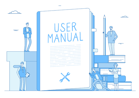 User manual. People with guidance guided textbook. User reading guidebook and writing technical instructions. Vector concept. Illustration of guide textbook, guidebook support