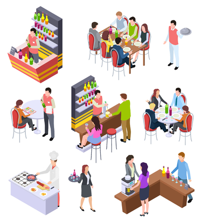 Isometric restaurant. Waiters and people eating lunch at tables in cafe bar restaurant. 3d vector characters set. Illustration of isometric restaurant or cafe, isometry consumer and serving