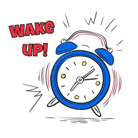 Alarm wake up. Clock ringing in morning. Hand drawing sketch comic poster, countdown vector concept. Illustration of clock alarm wake up time Иллюстрация