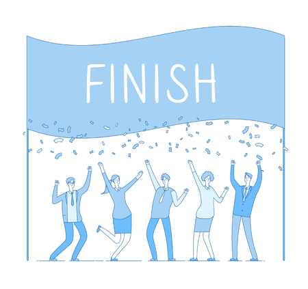Team on finish. Business man woman celebrating successful deal at finish line. Business racing winner, finance vector concept. Illustration of team winner, line finish concept triumph
