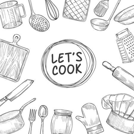 Cuisinons. Arrière-plan de croquis de classe de chef de cuisine. Illustration vectorielle vintage d'ustensiles de cuisine culinaire. Dîner de cuisine, cuisinier de dessin de croquis Vecteurs