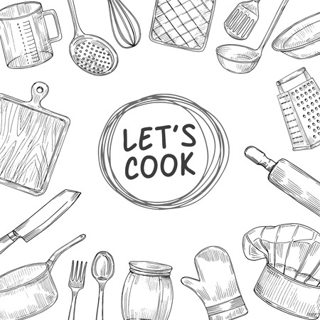 Lets cook. Cooking chef class sketch background. Culinary kitchen utensils vintage vector illustration. Cooking dinner, sketch drawing cook