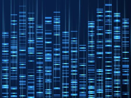 Visualización de datos genómicos. Secuencia del genoma del ADN, mapa genético médico. Fondo de vector de código de barras de genealogía. Ilustración de visualización de adn, textura genética y genealógica.