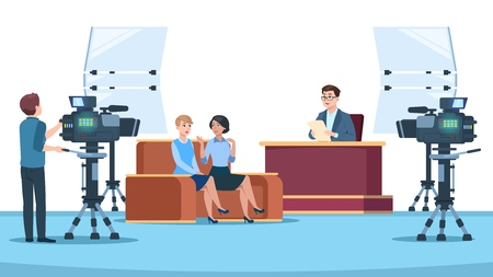 Tv studio interview. Talk show in broadcasting studio on television. Talking people with microphone to camera. News crew vector image. Tv studio, show live discussion interview illustration