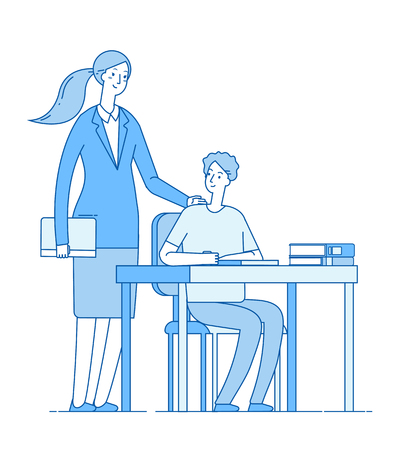 Teacher and smart student. Young woman at desk teaching and helping boy in classroom. Elementary school education vector concept. Illustration of woman teacher education, school learn