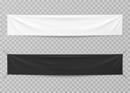Textile banners. Black and white blank horizontal advertising cloths. Folded empty cotton stretched canvas. Vector mockup. Illustration of horizontal cotton canvas, fabric sheet