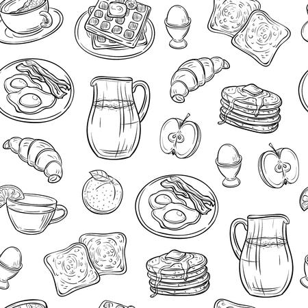 Breakfast doodle pattern. Pancakes jam cheese yogurt sausage tea bread and eggs sketch seamless vector texture. Breakfast drink and food illustration