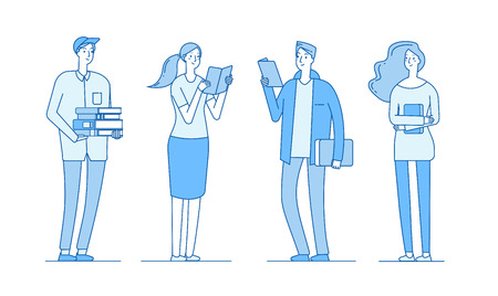 College students. Young boys and girls standing smiling with library books school teenagers studying persons flat line vector concept. Illustration of girl and boy education Ilustração