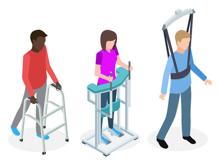 Legs rehabilitation people - isometric vector design. Illustration of rehabilitation patient, treatment and healthcare Reklamní fotografie - 125339228